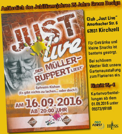 Lesung von Stefan Müller-Ruppert im Club Just Live (Interforst GmbH)