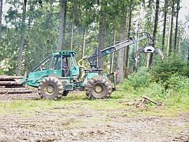 Bild - Traktor mit Rückeschild und Greifzange